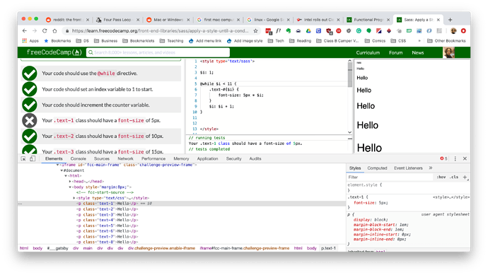 Bug Sass with @while both browser and tests - The