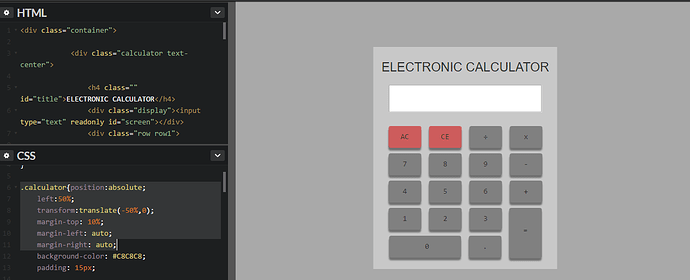 Need help centering my calculator on the screen - The