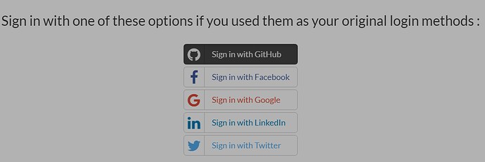Sign in with GitHub account is not working, nor Twitter