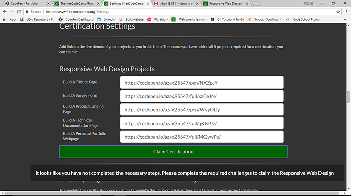 Why I am not getting Certificate? - Help - The freeCodeCamp