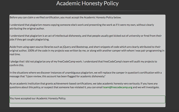 Academic Honesty Policy issue - Help - The freeCodeCamp Forum