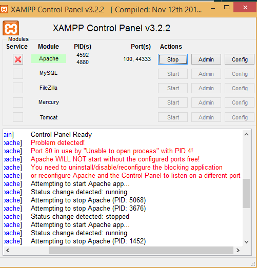 Problem with XAMPP installation on my windows server desktop