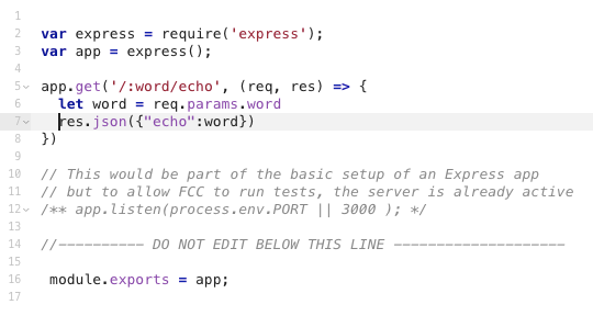Basic Node and Express - Get Route Parameter Input from the