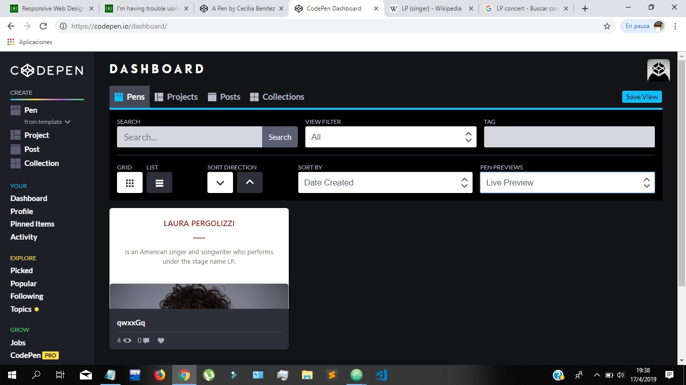 I already coded my first site in CodePen but - Help - The