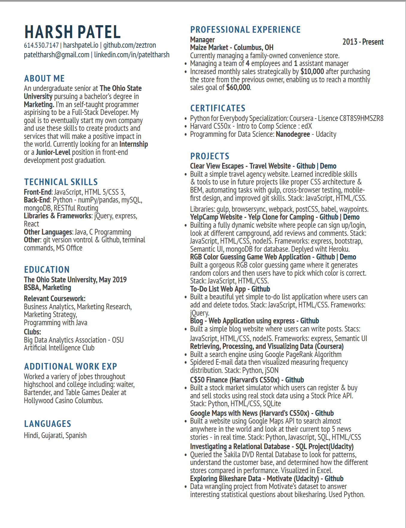 Looking for honest feedback on resume - Getting a Developer