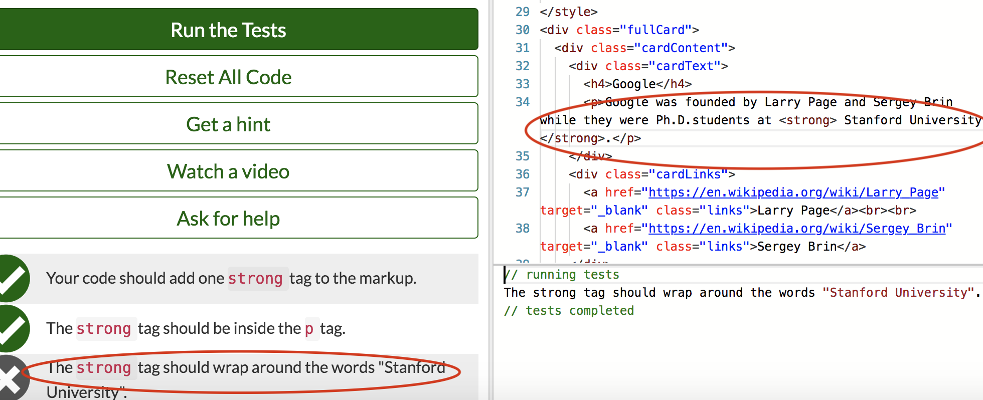 wrap the strong tag around the words stanford university html